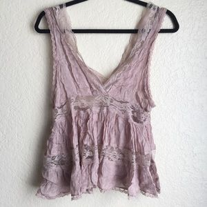 Intimately Free People Mauve Lace Top
